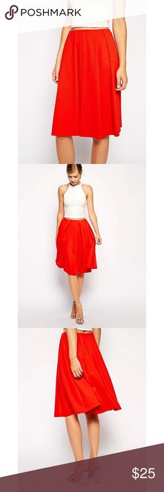 ASOS Ponte Bright Red Midi Skirt with Bold Pleats This is a thick and substantial ponte midi skirt in a bright red/orange. It's basically an a-line profile and is pretty full and voluminous. Very lightly worn and in great used condition. ASOS Skirts A-Line or Full
