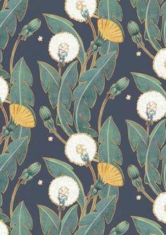 Art Inspiration: Beautiful Dandelion Pattern By Maria Khersonets via Behance. Art Inspiration: Beautiful Dandelion Pattern By Maria Khersonets via Behance. Textile Patterns, Textile Design, Print Patterns, Floral Patterns, Fabric Design, Floral Pattern Print, Paper Design, Yellow Pattern, Pattern Fabric