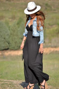 black maxi dress - casual looking with the jacket!