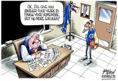 This cartoon is criticizing Obama because some people believe that even though he's already had a term in office he's failed to do a majority of the things that while he was campaigning he promised he would do.