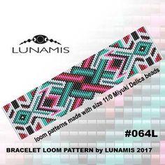 Loom bracelet pattern, loom pattern, square stitch pattern, pdf file, pdf pattern, cuff, #064L by LunamisBeadsPatterns on Etsy