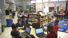 Explanation of station rotation blended learning at Pleasant View Elementary in Providence, RI.