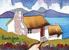 Aceo Original Connemara Cottage Ireland on eBid United Kingdom Watercolor Painting Techniques, Watercolor Sketchbook, Watercolor Cards, Watercolour Painting, Watercolor Architecture, Watercolor Landscape, Pamela Jones, Paint Cards, Pictures To Paint