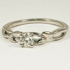 18K White Gold Budding Willow Ring - Set with a 0.30 Carat, Round, Very Good Cut, J Color, VVS1 Clarity Diamond #BrilliantEarth