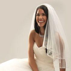 Swarovski Crystal Beaded Edge Elbow-Length 2-Layer Bridal Veil - BedBathandBeyond.com