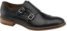 $155, Black Leather Double Monks: Johnston