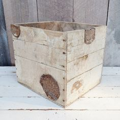 White Washed Wood Crate PenMar Gro. Co. by RibbonsAndRetro on Etsy, $38.00