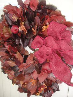 Autumn Salal Wreath    Preserved Wreath   Burgundy by donnahubbard, $90.00