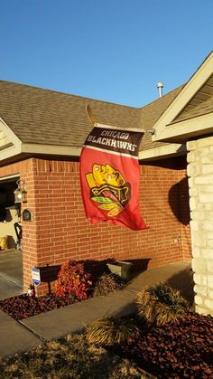 Not only is this an awesome flag, but check out the hockey stick it is hanging from!