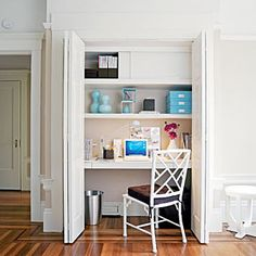 Don't have enough rooms for a home office? Clear out the clutter in a linen closet and turn it into an office! When you're done working, just close the closet doors.