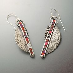 Sterling silver long dangle abstract modern earrings with inlaid polymer clay by LizardsJewelry