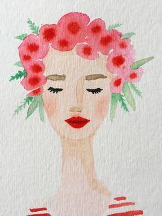 Flower crown girl original watercolor painting. by OliveTwigStudio