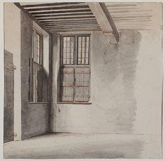 Aquarel, voorstellende een hoekje in de burgerzaal van het stadhuis te Culemborg, door L.J. Hansen, 1840 - 1845