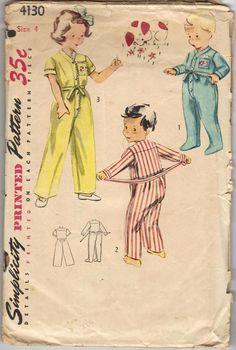 Simplicity 4130 children's drop-seat pajamas