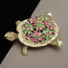 Rhinestone Turtle Brooch Pin Vintage