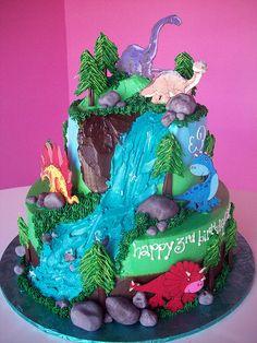 Dinosaur Land Cake. Perfect for boys birthday party