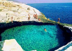 Amazing Natural Pool in Giola, Thassos, Greece. The lagoon, located near the village Astris, is often called the most natural swimming pool. Indeed, it is a unique water reservoir, which provides a pleasant swimming experience.