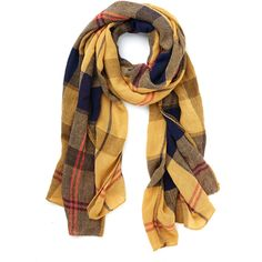 Menswear Inspired Academic Aspirations Scarf ($17) ❤ liked on Polyvore featuring accessories, scarves, yellow, fashion scarf, plaid shawl, tartan plaid shawl, woven scarves, plaid scarves and yellow shawl