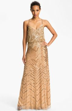Adrianna Papell Gold Cross Back Sequin Blouson Gown