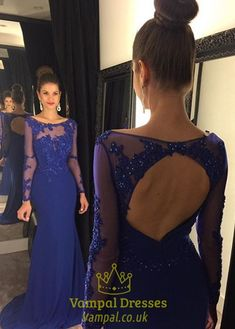vampal.co.uk Offers High Quality Royal Blue Lace Illusion Bodice Sheer Long…