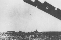 Carrier Akagi, battleship Hiei, and battleship Kirishima in the Pacific Ocean en route toward US Territory of Hawaii, 6 Dec 1941