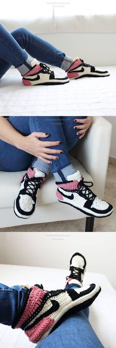 I love my new version of the Air Jordan style slippers. Same crochet pattern but different colors for this fall-winter