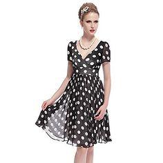 Donne sempre graziose manica corta vestito casuale pois con scollo a V chiffon Estate – EUR € 24.74
