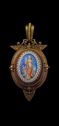 Neo Etruscan Pendant. An 18 carat gold pendant, attributed to Fontenay - around 1870.