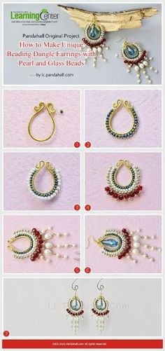 Pandahall Original Project--How to Make Unique Beading Dangle Earrings with Pearl and Glass Beads from LC.Pandahall.com | Pinterest by Jersica