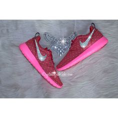 Nike Roshe red/pink/silver Made With Swarovski Crystals ($119) ❤ liked on Polyvore featuring shoes, sneakers, grey, sneakers & athletic shoes, tie sneakers, women's shoes, rose shoes, red trainer, pink shoes and polish shoes