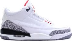 cc3b309ea2dc Air Jordan 3 (III) 2003 Retro White   Cement Grey - Fire Red Other than the  Jumpman logo on the heel
