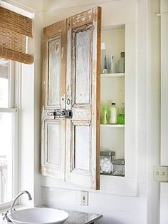 Old Shutters - Attached together and used for Medicine Cabinet doors. Dishfunctional Designs: New Takes On Old Doors: Salvaged Doors Repurposed Cabinet Doors, Home, Recycled Door, Doors Repurposed, Elegant Bathroom, Small Bathroom, Home Diy, Bathroom Design, Beautiful Bathrooms