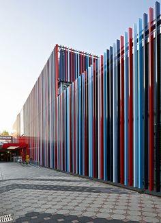 Kaufland shop by Sprenger von der Lippe, Duisburg, Germany. Coloured metal plates by COLT