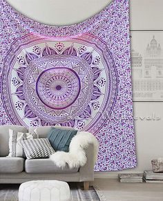 Indian Mandala Ombre Purple Pink Queen Large Bedding Size Wall Tapestry Hanging