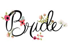 Print: Hand Illustrated Floral Bride and Groom