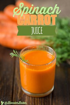Spinach Carrot Juice via @BlenderBabes | This healthy spinach carrot juice recipe will not only give you a TON of natural energy, but has a hefty dose of fiber!
