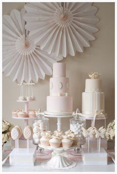 Pink and cream Dessert and Cake Table