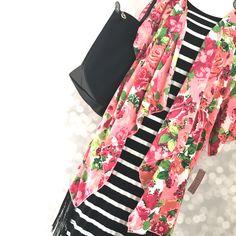 Spring Florals & Stripes! LuLaRoe Julia Dress & Monroe Kimono