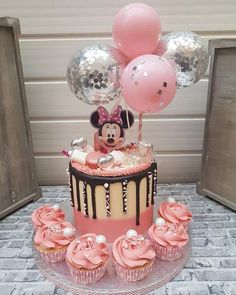 Balloon Cake Topper 5 Mini Bunting Banner Garlnd Party Birthday Wedding Hello 30 Baby Engaged Cake One Smash Pink Clear Silver Confetti Minni Mouse Cake, Minnie Mouse Birthday Cakes, Baby Birthday Cakes, Birthday Cake Design, Birthday Bunting, Mickey Birthday, Princess Birthday, Birthday Ideas, Mickey Mouse