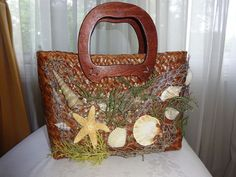 MERMAID Brown Straw Purse Hand Decorated Shells Seaweed Fish-Net TIKI SEA-PUNK  #Handdecorated #summer