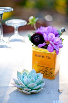 Purple flowers in tin with succulent by Enchanted Florist, Photo by Scobey Photography in Nashville Pink And Purple Flowers, Purple Wedding Flowers, Lotus Flowers, Plan My Wedding, Our Wedding, Wedding Themes, Wedding Decorations, Wedding Ideas, Wedding Centerpieces