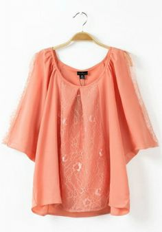Pink Blending Round Neck Short Sleeve Plain Tops