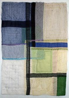 """Sampler"" 20″ x 28″ by Rosemary Claus-Gray. Translucent art quilt. silk organza, hand stitched."