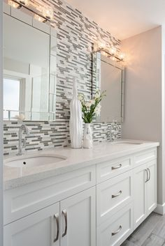 Transitional Bathrooms geometric marble bathroom backsplash, transitional, bathroom