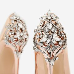 a7333331d49b Aries Jewel Embellished Court Heel In Metallic Rose Gold Patent