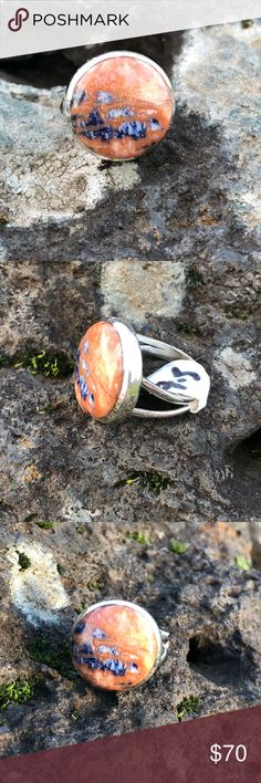 NEW! Orange sodalite ring Pretty orange sodalite and 925 sterling silver  *stamped Size 7.5 NWOT Robin's Nest Jewels Jewelry Rings