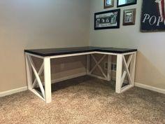 L Shaped Double X Desk - Handmade Haven Diy Office Desk, Diy Computer Desk, Diy Wood Desk, Diy Desk, Woodworking Furniture, Furniture Plans, Pipe Furniture, Furniture Vintage, L Shape Desk Diy