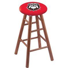 Georgia Bulldogs Mascot Dawg Swivel Stool w/ Medium Brown Oak Wood Base