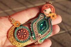 Sotache Earrings Soutache Jewelry Nesting doll by Fantasiria