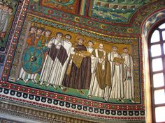 Justinian with court official, guards and the bishop Maximianus. This remarkable photograph clearly shows the location of the mosaic, just to the left of the central apse of the church. This image is from a striking set of photographs of Ravenna I found on flickr, here: http://www.flickr.com/photos/sjmcdonough/sets/72157601759111469/with/895277707/